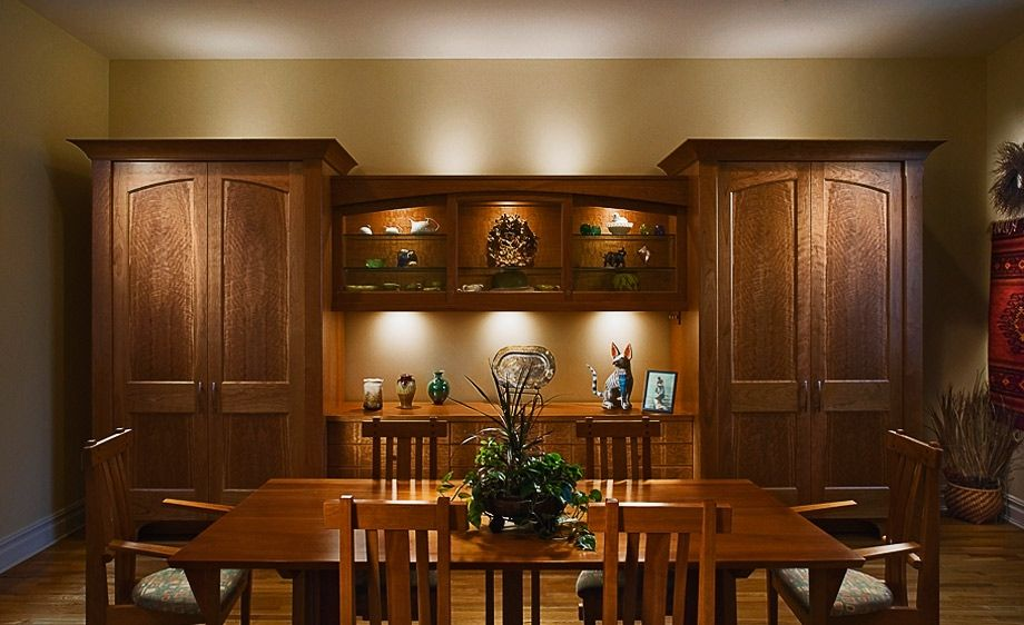 Handmade figured cherry dinning room cabinet by for Dining room cupboard designs