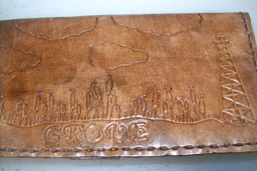 Custom Made Custom Leather Checkbook Cover With Wheat And Personalization