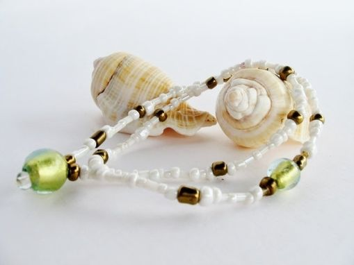 Custom Made White And Golden Double Wrapped Stretchy Bracelet. One Of A Kind. Beach. Boho. Made In Maui.