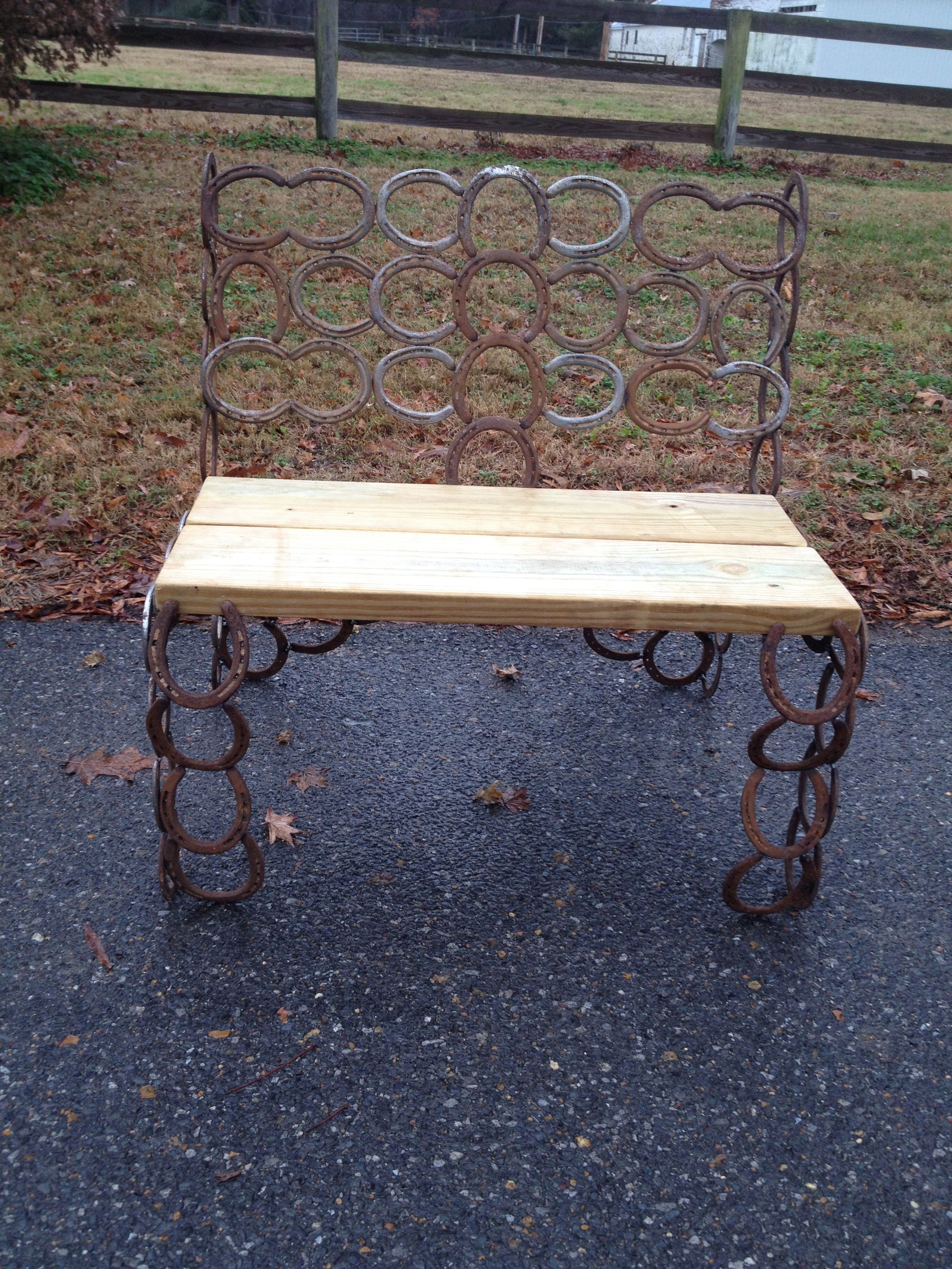 Hand Crafted Horseshoe Wood Seat Bench Used Shoes by travis