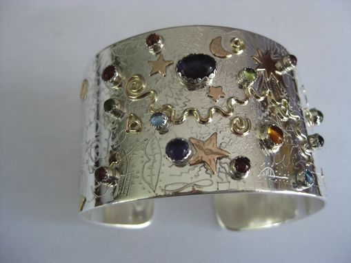 Custom Made Sterling Silver And 14k Gold Fill With Semi Precious Stones Large Cuff Bracelet