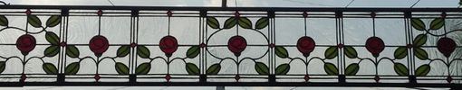 "Custom Made Stained Glass Panel -  ""Ruby Roses"" (P-24)"