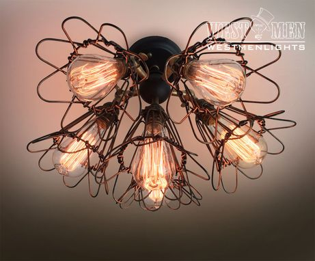 Custom Made Westmenlights Vintage Wrought Iron Flower Cage Ceiling Lamp Steampunk Chandeliers