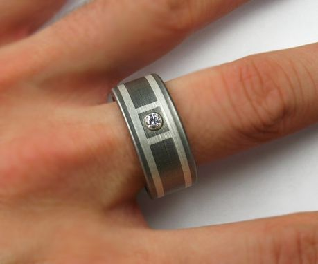 Custom Made Diamond Wedding Band Silver Titanium
