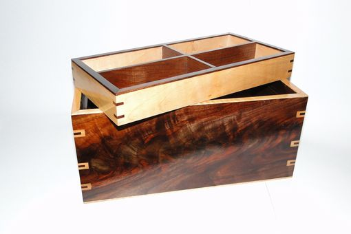 Custom Made Walnut And Curly Maple Men's Watch Box With Hidden Drawer And Removable Tray, Secret Compartment