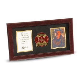 Custom Made 4 By 6 Double Picture Frame For Firefighter Medallion