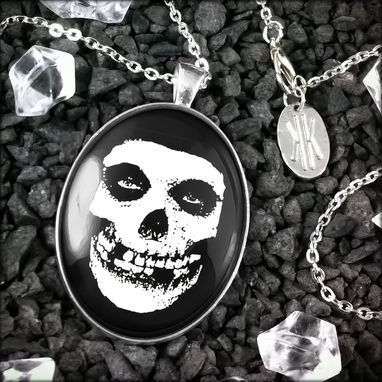 Custom Made Large Misfits Crimson Skull Sterling Silver Necklace 179-Slopn