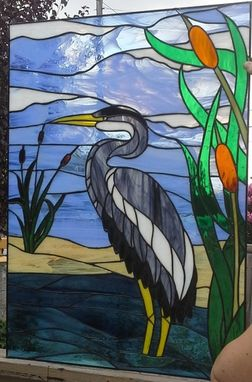Hand Made Stained Glass Window Quot Blue Heron Quot W 57 By