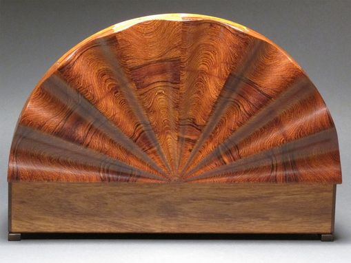 Custom Made Carved Rosewood Jewelry Box With Rotating Trays