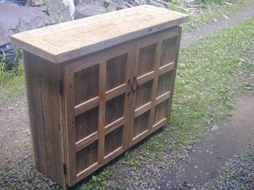 Custom Made Reclaimed Barnwood Wine Cabinet