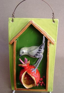 Custom Made Yellow Grey Verdin With Pomagranate 3-D Tile Wall Hanging