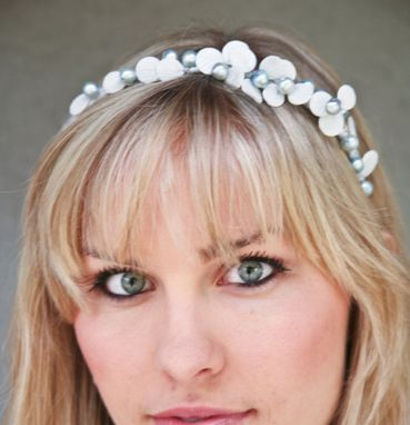 Custom Made Wedding Tiara, Tiara Of Vintage Glass White Leaves With A Touch Of Blue