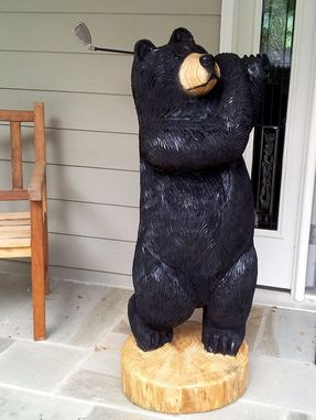 Custom Made Golfing Bear Chainsaw Sculpture