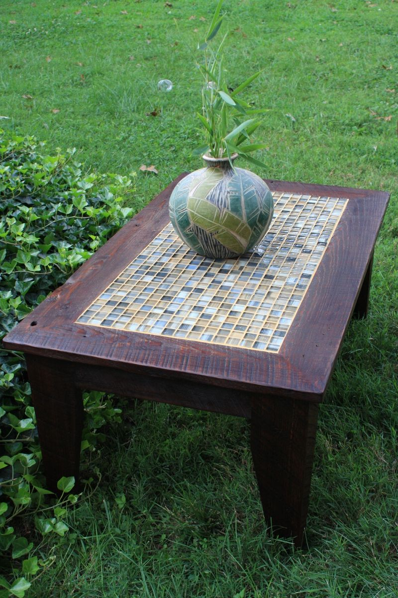Hand Crafted Coffee Table, Tile Mosaic, Reclaimed Wood, Rustic