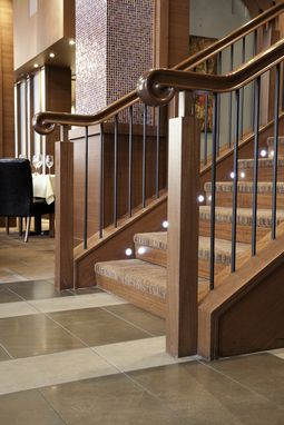 Custom Made Custom Wood  Stair  Railing Enhances Upscale Restaurant