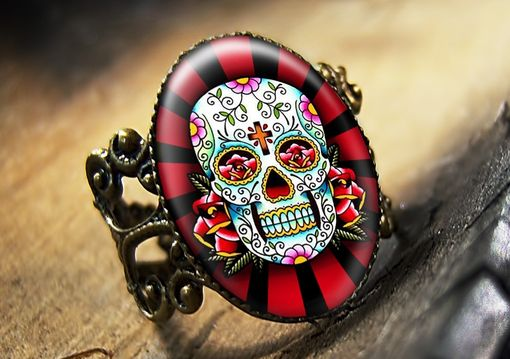 Custom Made Dia De Los Muertos Dead Sugar Skull Bronze Ring 61-Bfr