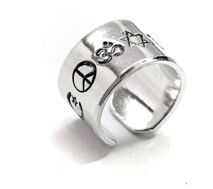 Custom Made Coexist - Hand Stamped Aluminum Ring, Adjustable