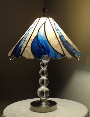 Custom Made Blue And White Swirl Lamp Stained Glass