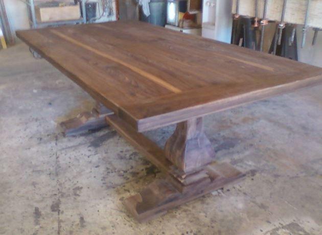 Handmade Walnut Trestle Table By Santini Custom Furniture
