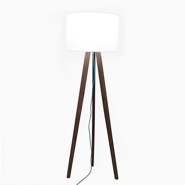 Custom Made Solid Walnut Mid Century Modern Tripod Floor Lamp With Teal Cord