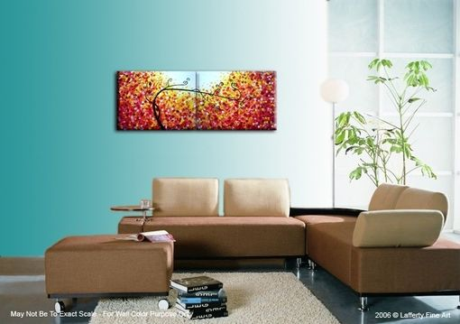 Custom Made Original Abstract Large Painting, Contemporary Fine Art, Modern Acrylic Red Yellow Tree Landscape
