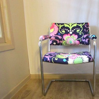 Custom Made Refurbished Office Or Waiting Room Chairs - Funky Floral With Nailheads