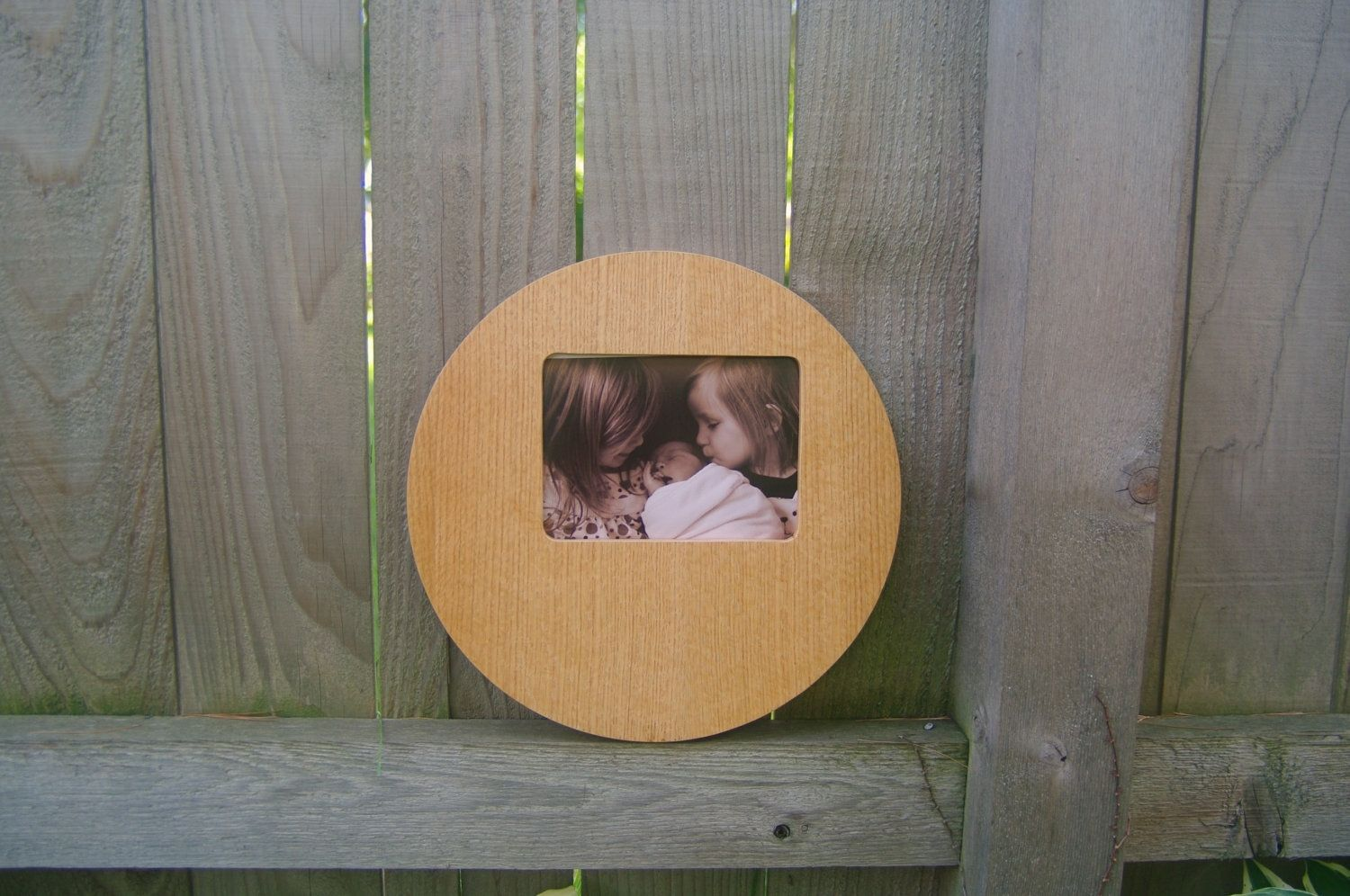 custom made round mid century modern picture frame wood white oak veneer 4x6 or 5x7