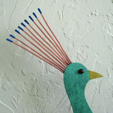 Custom Made Peacock Art Sculpture Large Upcycled Metal Bird Wall Decor Peacock Blue Teal Green