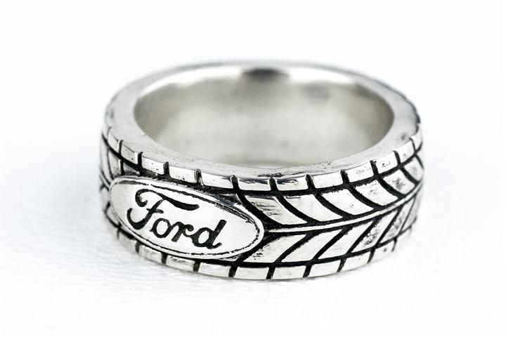 Custom Made Tire Tread Ring Car Enthuisiast Ford Sports Silver