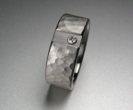 Custom Made Hammered Diamond Stainless Steel Wedding Ring