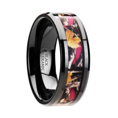 Custom Made Laurel Realistic Tree Camo Black Ceramic Wedding Band With Real Pink Oak Leaves - 6mm - 8mm