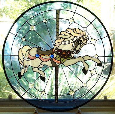 Custom Made Carousel Horse Stained Glass Window