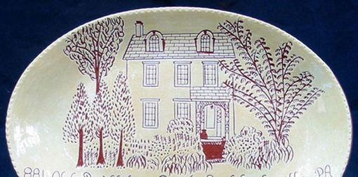 Custom Made Redware House Plate Decorated Using The Sgraffito Technique