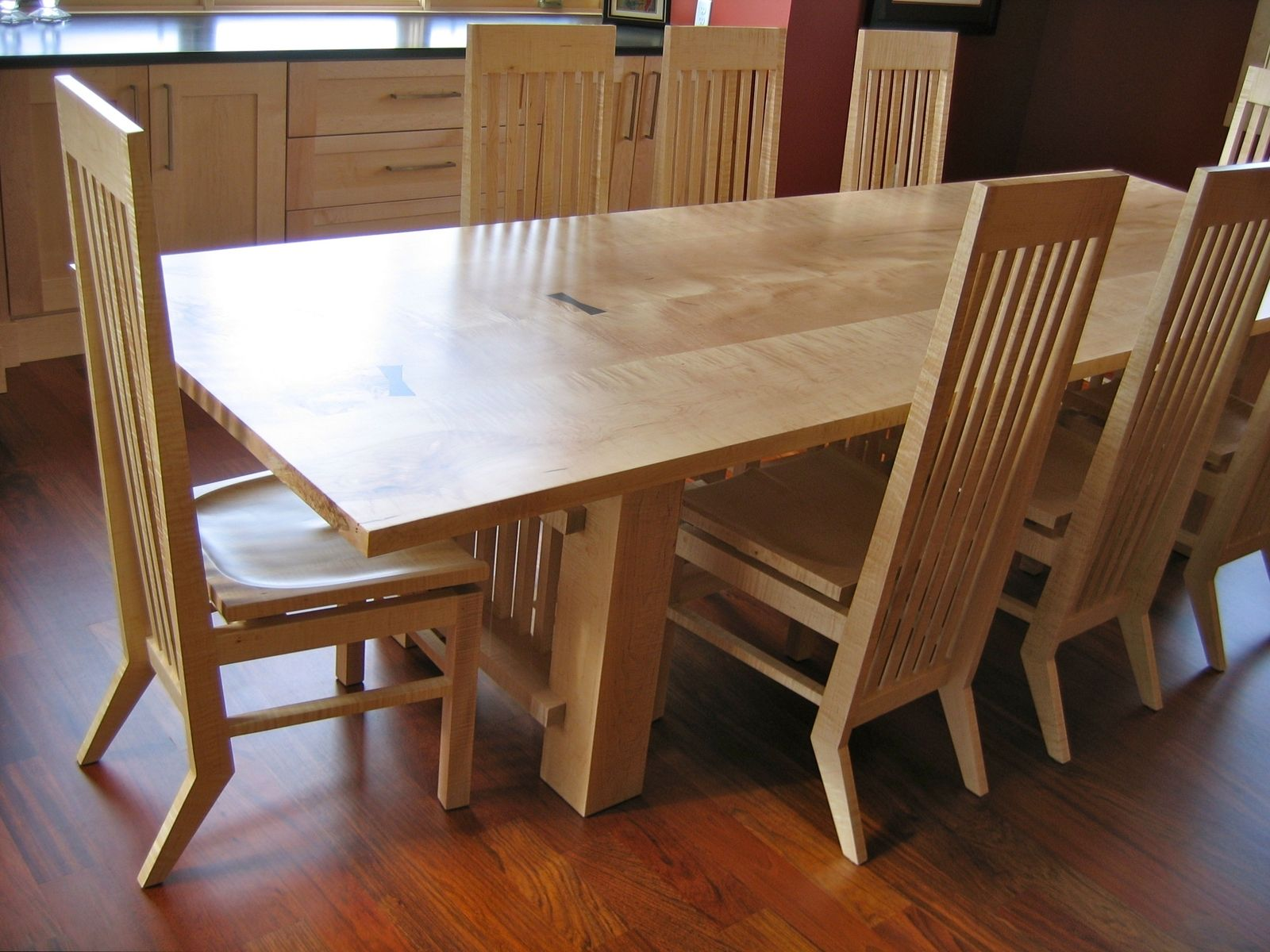 Hand crafted maple dining table by david naso designs for Dining room tables handmade
