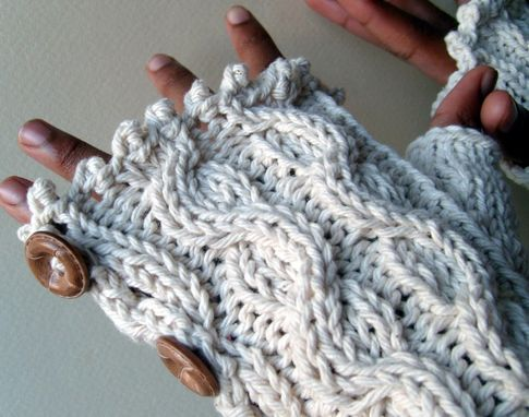 Custom Made Elegant Cabled Button Down Mitts - Cool Cotton / Fingerless Gloves / Longer Length