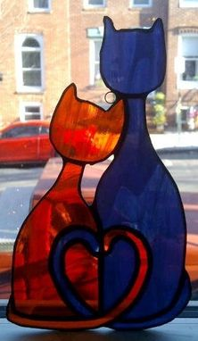Custom Made Cozy Cats - Stained Glass Sun Catcher  (G-5)