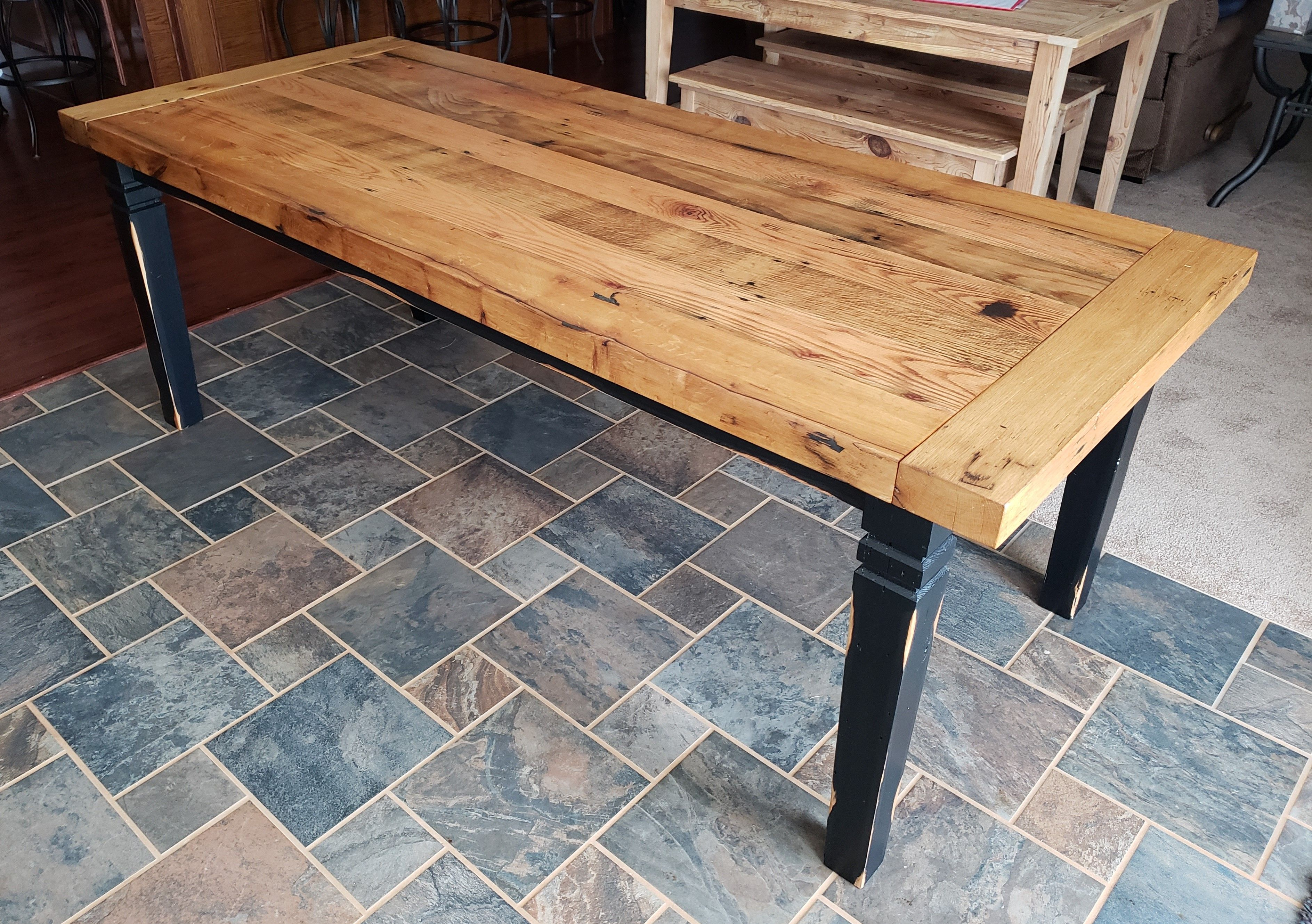 Custom Oak Thick Top Farm Table With Comapny Boards By Flying Pigs Furniture Llc Custommade Com