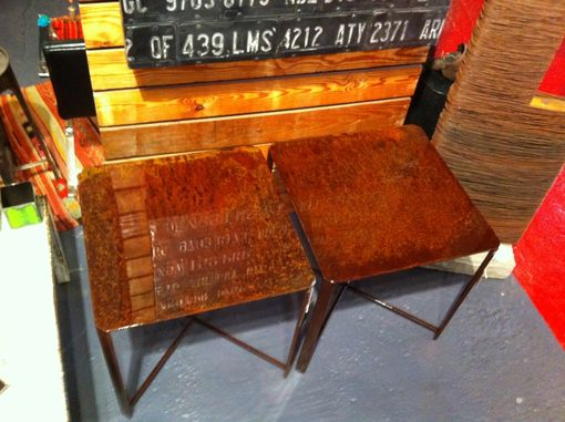 Custom Made Beautiful Rusted Steel End Tables With 12 Coats Of Gloss.