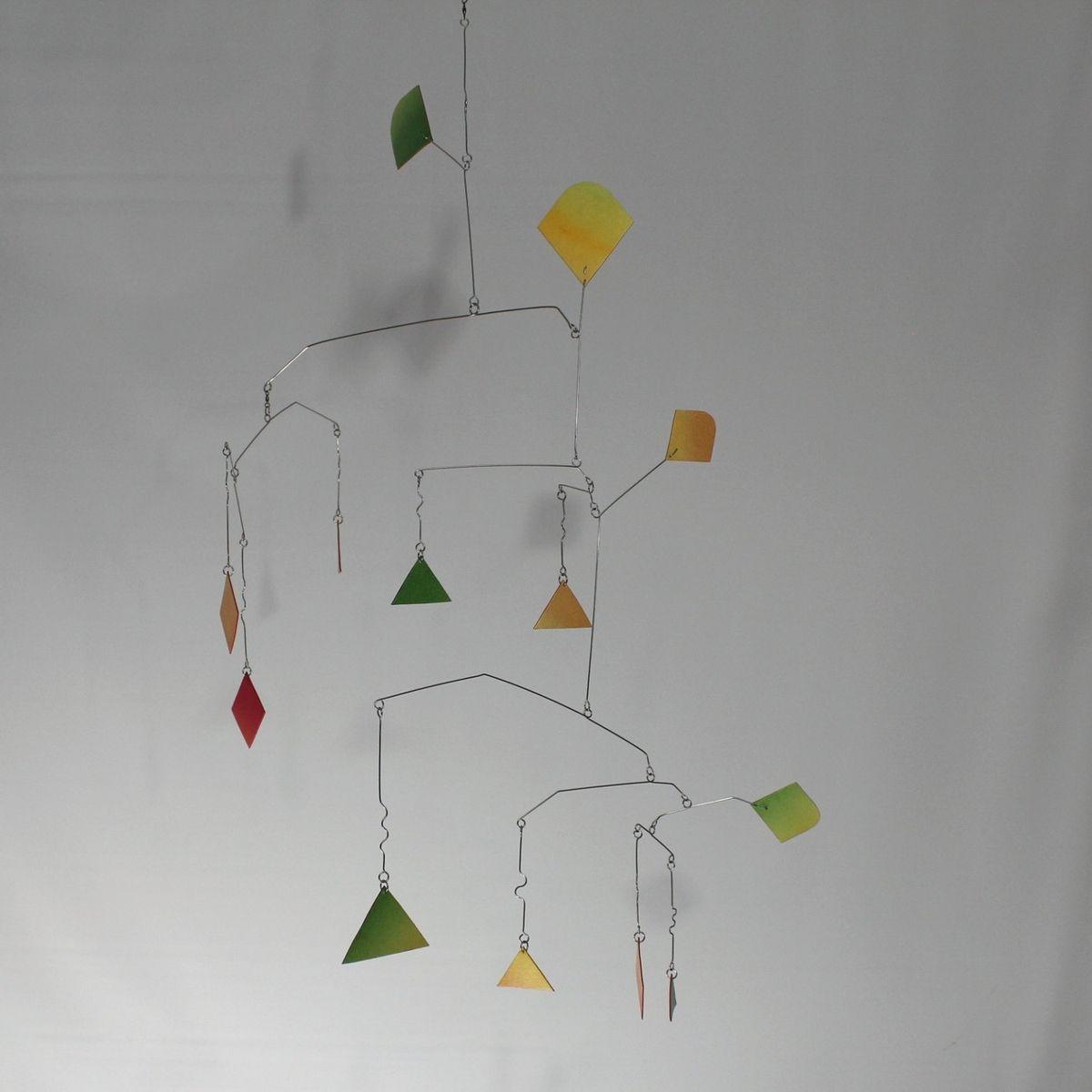 Modern Home Decor Store Handmade Tall Abstract Art Mobile Alien In Rainbow