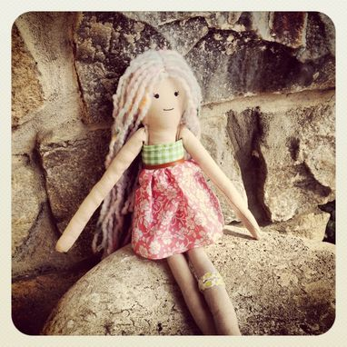 Custom Made Rag Doll // Organic Cotton Muslin // Plant Dyed // Vintage Fabric Dress