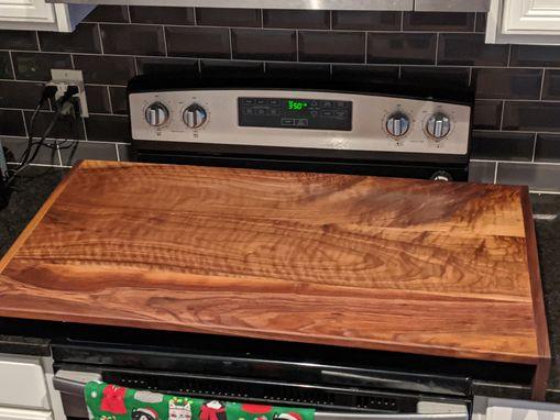 Custom Made Solid Hardwood Stove Cover Board.
