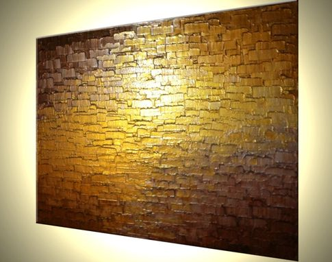 Custom Made Original Abstract Metallic Reflective Painting Gold Bronze Impasto Palette Knife Textured Art