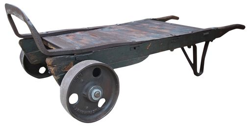 Custom Made Rustic And Industrial Hand Truck Coffee Table