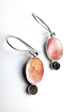 Custom Made Sterling Silver & Colorful Resin Earrings