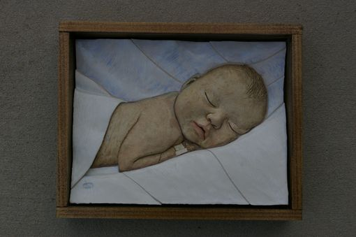 Custom Made Infant Portrait: Ceramic Tile Relief With Poplar Frame