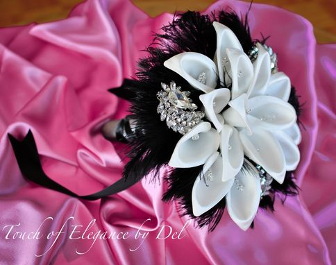 "Custom Made 10"" 'Diamonds In The Sky' Bridal Brooch Bouquet With Calla Lilies, Ostrich Feathers And Bling"