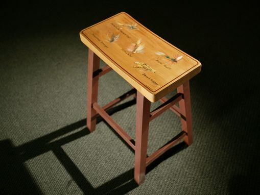 "Custom Made Solid Beech Stool Available In 24"" Or 30"" Height. With Or Without Custom Design."