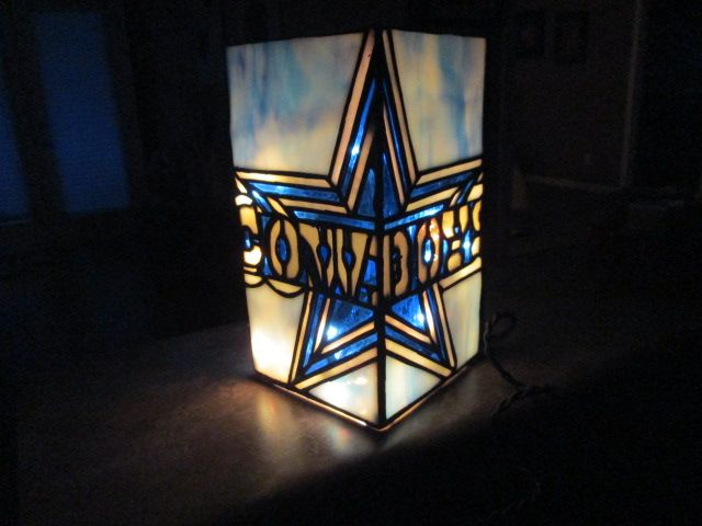 Custom Made Dallas Cowboys Stained Glass Lighted Vase