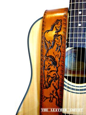 Custom Made Wild Horse Leather Adjustable Guitar Strap