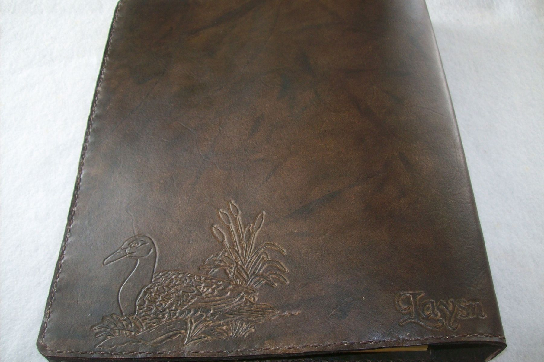 handmade custom leather left handed business binder and